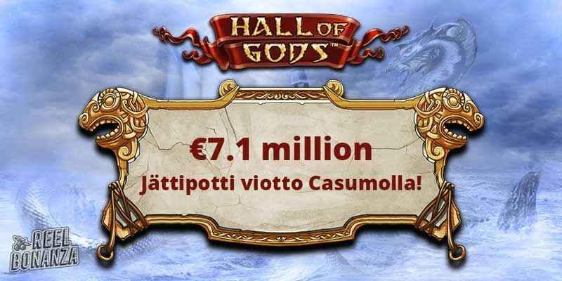 Hall of Gods jättipotti voitto Casumolla